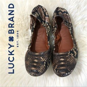 Lucky Brand Emmie Faux Leather Snakeskin Ballet